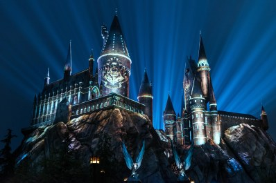 """""""The Nighttime Lights at Hogwarts Castle"""" at """"The Wizarding World of Harry Potter"""" at Universal Studios Hollywood."""